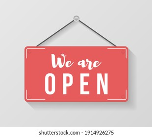 Signboard with a rope. Image of various open and closed business signs. A business sign that says Come In, We're Open.