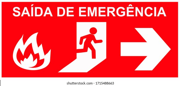 A signboard that says in portuguese language: EMERGENCY EXIT