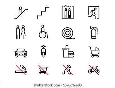 signboard wayfinding system simple line pictogram icon