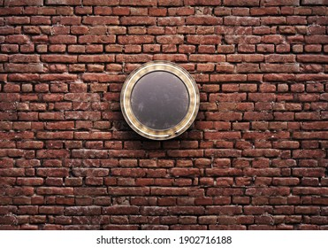 Signboards in different form with lighting on the brick wall. 3d illustration