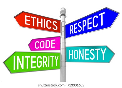 """Signpost with 5 arrows - business ethics concept - """"ethics, respect, code, honesty, integrity""""."""