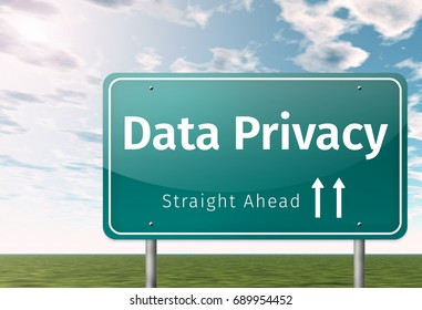 Signpost with Data Privacy wording
