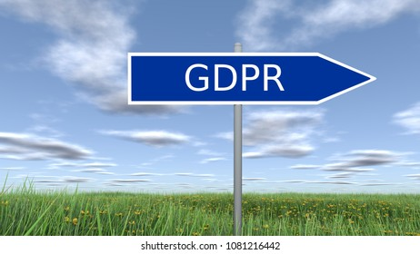 Signpost with GDPR wording. 3D rendering.