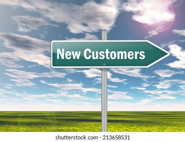 Signpost with New Customers wording
