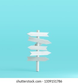 Signpost on pastel blue background. 3d rendering