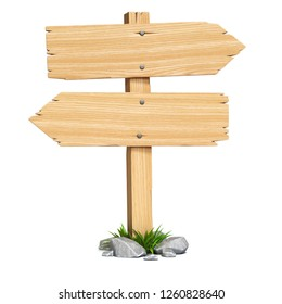 Signpost, signboard, guidepost, wooden road sign on crossroads 3d rendering