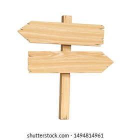 Signpost, signboard, guidepost, wooden road sign on crossroad 3d rendering