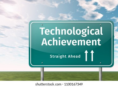 Signpost with Technological Achievement wording
