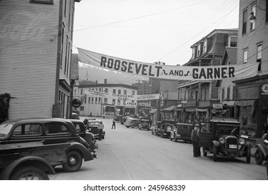 Signs for the 1936 election. Hardwick Vermont streets with campaign signs for 'Roosevelt and Garner' 'The Townsend Plan' and Landon and Knox. Sept. 1936.