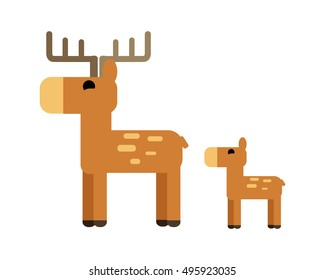 Sika deer  illustration in flat style.  Animal picture for wild nature conceptual banners, web, app, icons, infographics, logotype design. Isolated on white background.