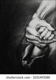 """Silence"". Pencil Drawing of a man protecting a child."