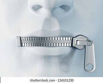 silent face with a metal zipper on a lips