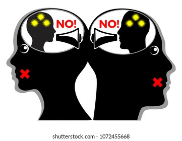 Silent killer of relationship. Angry couple quarrels with their inner speech but do not talk with one another
