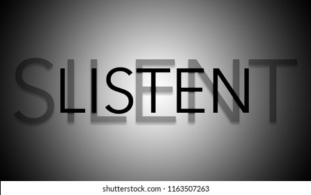 Silent listen text anagram with dark vignette