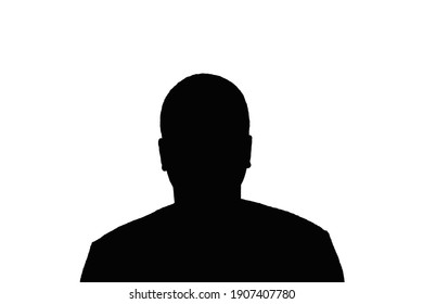 Silhouette of an adult young anonymous man on a white background.