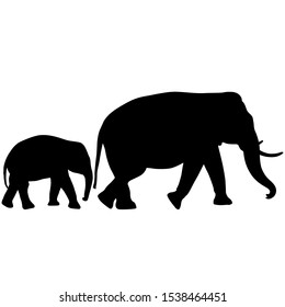 Silhouette of an African elephant with a little elephant on a white background