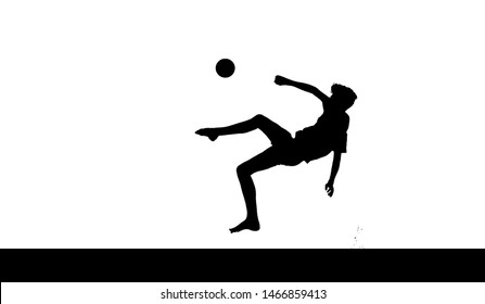 Silhouette against a white background of a teenage boy showing a bicycle kick (soccer)