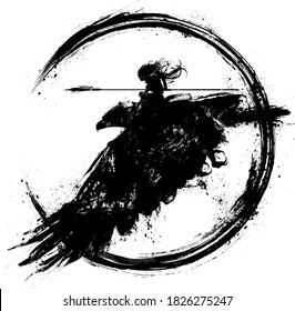 Silhouette Amazon girl flies astride a huge eagle holding a long spear ready to attack, she has long hair fluttering in the wind. 2D illustration