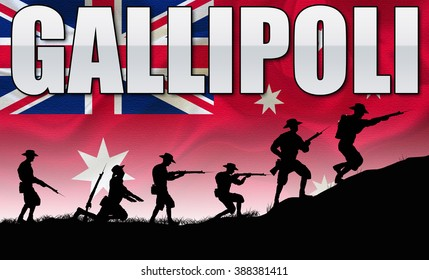 A silhouette of ANZAC soldiers