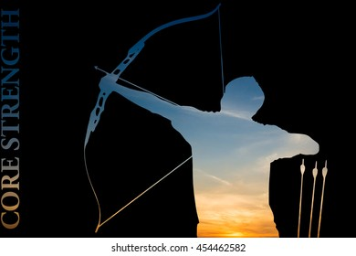 """A silhouette of an archer filled with an actual picture of a colorful sky with golden sun at the torso of the archer and the phrase """"core strength"""" as a concept art in archery with clipping paths"""