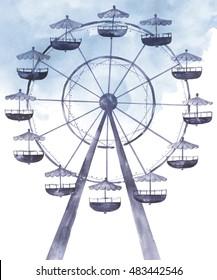 Silhouette attraction colorful ferris wheel. watercolor illustration.