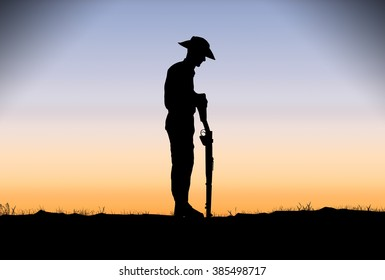 Silhouette of Australian ANZAC soldiers against the sky.