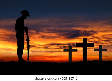 Silhouette of Australian ANZAC soldiers against the sky.  April 25th is ANZAC day.