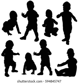 silhouette baby, collection, isolated