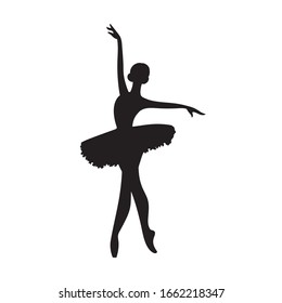 Silhouette ballerina. Beautiful drawing ballerina. Black silhouette of a dancer. Stock illustration isolated  on white background.