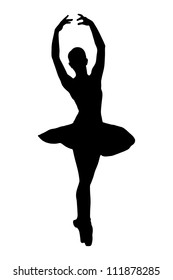 A silhouette of a ballerina dancer making a ballet posing against white background