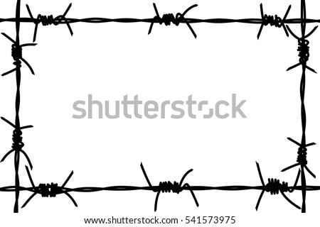 Silhouette Barbed Wire Frame On White Stock Illustration 541573975 ...