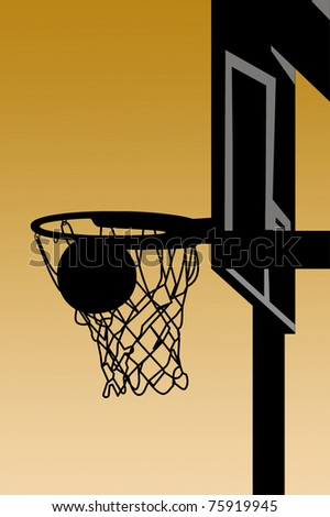 silhouette basketball going into basket stock illustration royalty