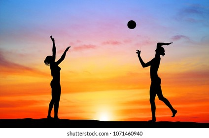 silhouette of beach Volleyball player on the beach