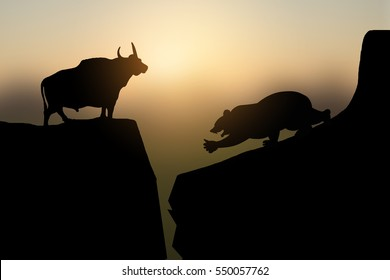 Silhouette of bear and bull on the mountain.