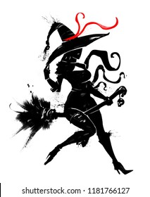 silhouette of a beautiful witch