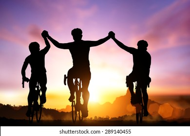 Silhouette bicycle on sunset and Friendship in bicycle sport and triathlon sport