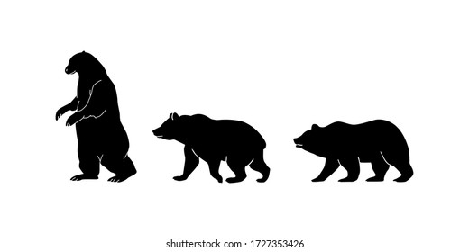 Silhouette black bear set on a white background walking illustration