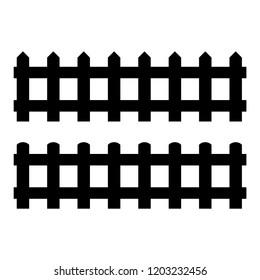 Silhouette Black Fence element. illustration of fences
