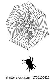 Silhouette einer schwarzen Spinne auf einem Spinnennetz