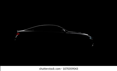 silhouette of black sports car on black background, photorealistic 3d render, generic design, non-branded