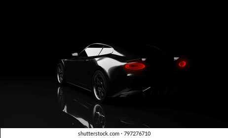 silhouette of black sports car on black