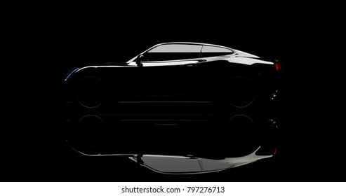 silhouette of black sports car on black