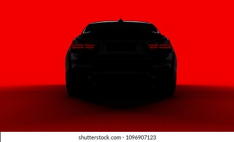 silhouette of black sports car with taillights, rear view on red background, photorealistic 3d render, generic design, non-branded