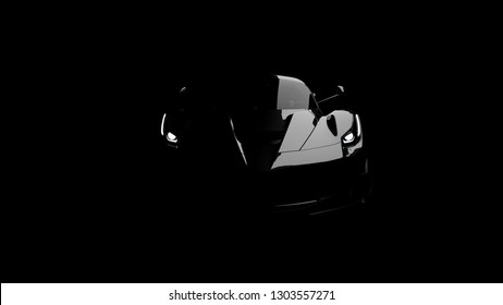 silhouette of black supercar with headlights on black background, 3d render, generic design, non-branded