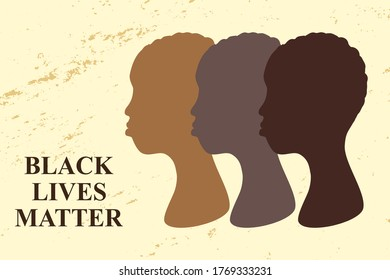 "Silhouette of a black women and the text ""Black Lives Matter"". Modern illustration, poster, banner, card. Anti discrimination and stop racism concept. - Shutterstock ID 1769333231"