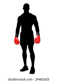Silhouette of a boxer with red boxing gloves