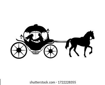 Silhouette of bride and groom in coach. Symbol illustration icon