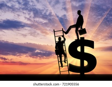 Silhouette of a businessman climbs the stairs, and another businessman standing on a dollar symbol pushes this ladder. The concept of greed and inequality