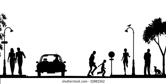 Silhouette of a busy street