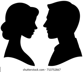 Silhouette cameo man and woman portrait in profile